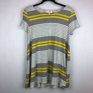 Anthropologie Puella Striped Swing Tee Top SZ. M